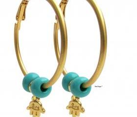 Gold Hoop earrings with Hamsa and Turquoise beads